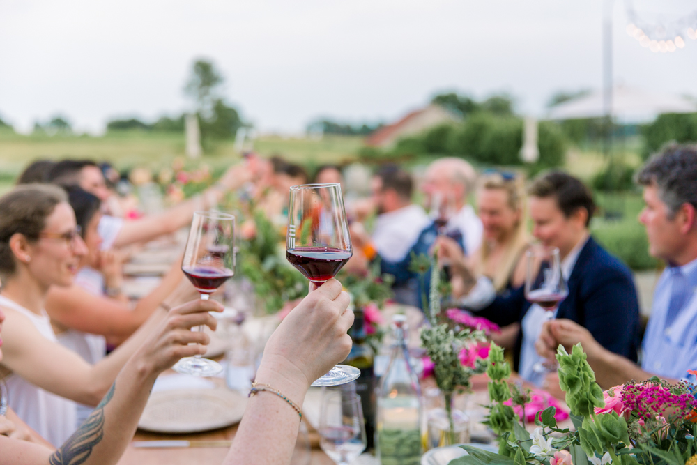 Wine Toast at Early Mountain Vineyard Event