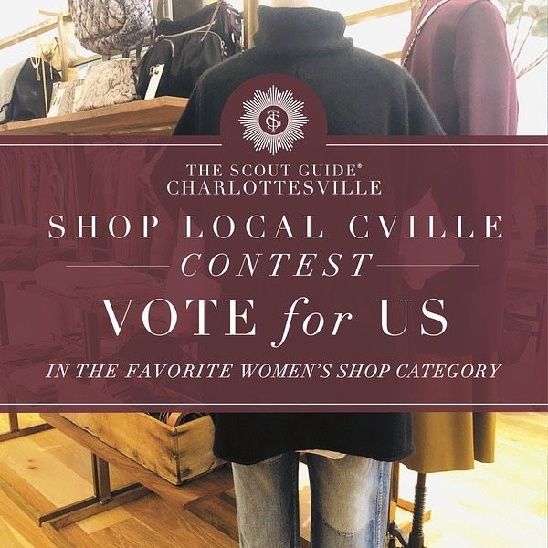 proud to be nominated in the category of women's shop for the tsgcharlottesville shop@local contest. click link in bio to vote for us and show your ❤️ you can vote once a day from now until december 10th and have a chance to win a $500 gift card to shop local. love to support cville and love supporting small local businesses. we are fortunate to have so many amazing businesses here that contribute to making charlottesville the special place it is #cieloisecharlottesville - purvelocville wellroomcville bejustcville folly_cville shopatdarling bodosbagels mariebettecafe publicfishandoyster oakhartsocial conmole ten.sushi cvilleinsider