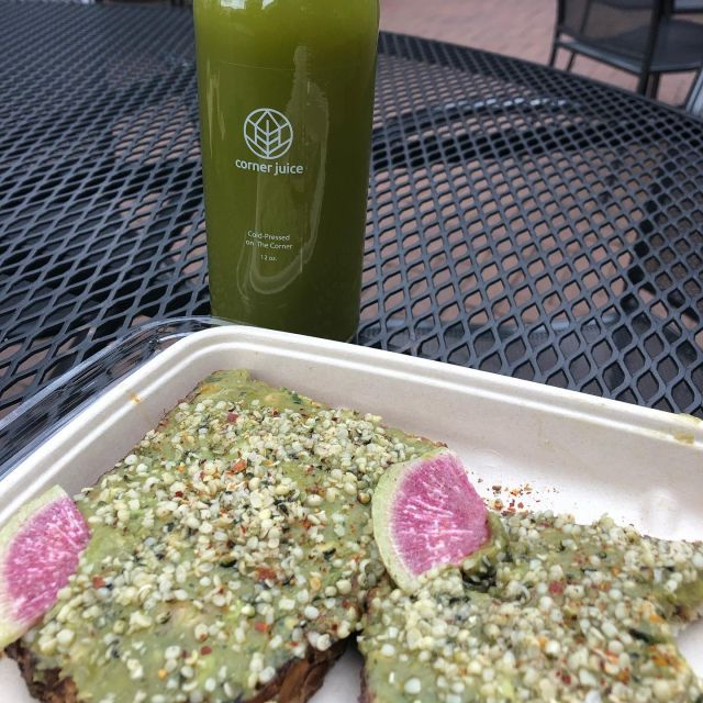 A true foodie finds the best food anywhere in Charlottesville. Avocado Toast and a cold pressed Grinch. Healthy Living in 2021. #charlottesvilleinsider #charlottesvilleinsiderty #juicelaundrycville