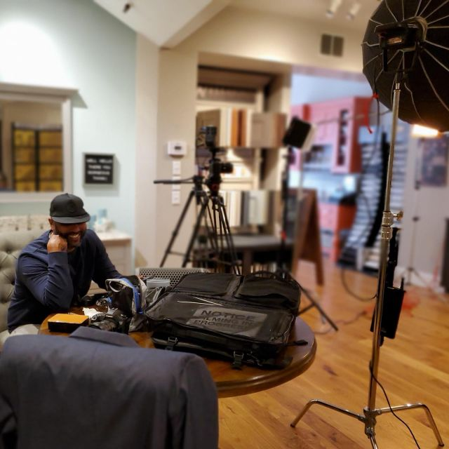 """Filming a branding video for local business, Dovetail Design and Cabinetry. Don't be mad at me, I'm innocent in all of this. Lol. """"We do it like we're doing it for TV."""" — MASON BETHA #charlottesvilleinsider #charlottesvilleinsiderty #harlem #filmmaker #brandingvideography #directorofphotography #director #canon #canonusa"""